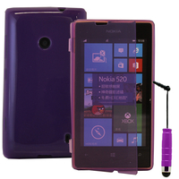 Nokia Lumia 520/ 525: Accessoire Coque Etui Housse Pochette silicone gel Portefeuille Livre rabat + mini Stylet - VIOLET