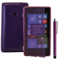 Nokia Lumia 520/ 525: Accessoire Coque Etui Housse Pochette silicone gel Portefeuille Livre rabat + Stylet - VIOLET