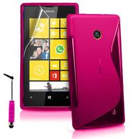 Nokia Lumia 520/ 525: Accessoire Housse Etui Pochette Coque S silicone gel + mini Stylet - ROSE