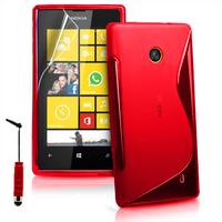 Nokia Lumia 520/ 525: Accessoire Housse Etui Pochette Coque S silicone gel + mini Stylet - ROUGE
