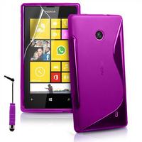Nokia Lumia 520/ 525: Accessoire Housse Etui Pochette Coque S silicone gel + mini Stylet - VIOLET