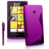 Nokia Lumia 520/ 525: Accessoire Housse Etui Pochette Coque S silicone gel + Stylet - VIOLET