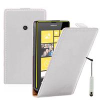 Nokia Lumia 520/ 525: Accessoire Housse coque etui cuir fine slim + mini Stylet - BLANC