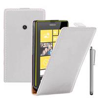 Nokia Lumia 520/ 525: Accessoire Housse coque etui cuir fine slim + Stylet - BLANC