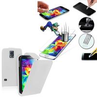 Samsung Galaxy S5 V G900F G900IKSMATW LTE G901F/ Duos / S5 Plus/ S5 Neo SM-G903F/ LTE-A G906S: Etui Coque Housse Pochette Accessoires simili cuir + 2 Films de protection d'écran Verre Trempé - BLANC