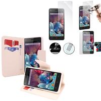Wiko Highway/ Highway 4G: Etui Coque Housse Pochette Accessoires portefeuille support video cuir PU effet tissu + 2 Films de protection d'écran Verre Trempé - BLANC