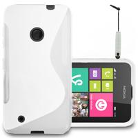Nokia Lumia 530/ 530 Dual Sim: Accessoire Housse Etui Pochette Coque S silicone gel + mini Stylet - BLANC