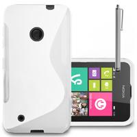 Nokia Lumia 530/ 530 Dual Sim: Accessoire Housse Etui Pochette Coque S silicone gel + Stylet - BLANC