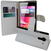 Acer Liquid Z5 Duos: Accessoire Etui portefeuille Livre Housse Coque Pochette support vidéo cuir PU - BLANC