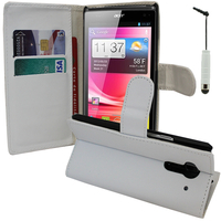 Acer Liquid Z5 Duos: Accessoire Etui portefeuille Livre Housse Coque Pochette support vidéo cuir PU + mini Stylet - BLANC