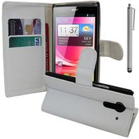 Acer Liquid Z5 Duos: Accessoire Etui portefeuille Livre Housse Coque Pochette support vidéo cuir PU + Stylet - BLANC