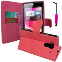 Acer Liquid Z5 Duos: Accessoire Etui portefeuille Livre Housse Coque Pochette support vidéo cuir PU + mini Stylet - ROSE