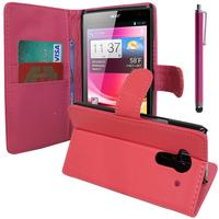 Acer Liquid Z5 Duos: Accessoire Etui portefeuille Livre Housse Coque Pochette support vidéo cuir PU + Stylet - ROSE