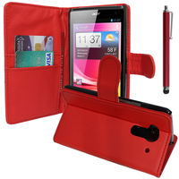 Acer Liquid Z5 Duos: Accessoire Etui portefeuille Livre Housse Coque Pochette support vidéo cuir PU + Stylet - ROUGE