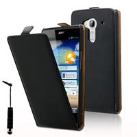 Acer Liquid Z5 Duos: Accessoire Housse coque etui cuir fine slim + mini Stylet - NOIR