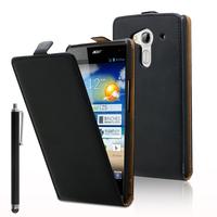 Acer Liquid Z5 Duos: Accessoire Housse coque etui cuir fine slim + Stylet - NOIR