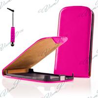 Alcatel Idol 2 S 6050Y/ 6050A/ 6050F/ Alcatel Idol 2: Accessoire Housse coque etui cuir fine slim + mini Stylet - ROSE