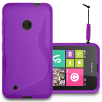 Nokia Lumia 530/ 530 Dual Sim: Accessoire Housse Etui Pochette Coque S silicone gel + mini Stylet - VIOLET