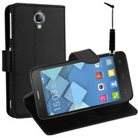 Alcatel Idol 2 Mini S 6036Y/ 6036A/ 6036X: Accessoire Etui portefeuille Livre Housse Coque Pochette support vidéo cuir PU + mini Stylet - NOIR