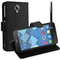 Alcatel Idol 2 Mini S 6036Y/ 6036A/ 6036X: Accessoire Etui portefeuille Livre Housse Coque Pochette support vidéo cuir PU + Stylet - NOIR