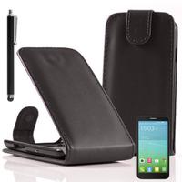 Alcatel Idol 2 Mini S 6036Y/ 6036A/ 6036X: Accessoire Etui Housse Coque Pochette simili cuir + Stylet - NOIR