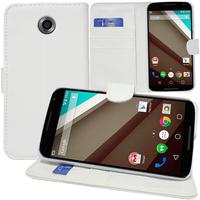 Motorola Nexus 6/ Nexus X: Accessoire Etui portefeuille Livre Housse Coque Pochette support vidéo cuir PU - BLANC