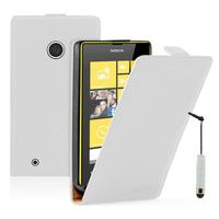 Nokia Lumia 530/ 530 Dual Sim: Accessoire Housse coque etui cuir fine slim + mini Stylet - BLANC