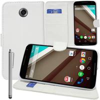 Motorola Nexus 6/ Nexus X: Accessoire Etui portefeuille Livre Housse Coque Pochette support vidéo cuir PU + Stylet - BLANC