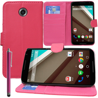 Motorola Nexus 6/ Nexus X: Accessoire Etui portefeuille Livre Housse Coque Pochette support vidéo cuir PU + Stylet - ROSE