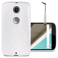 Motorola Nexus 6/ Nexus X: Accessoire Housse Etui Pochette Coque S silicone gel + mini Stylet - BLANC