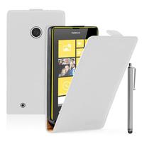 Nokia Lumia 530/ 530 Dual Sim: Accessoire Housse coque etui cuir fine slim + Stylet - BLANC