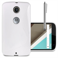 Motorola Nexus 6/ Nexus X: Accessoire Housse Etui Pochette Coque S silicone gel + Stylet - BLANC