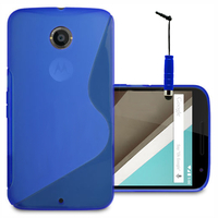 Motorola Nexus 6/ Nexus X: Accessoire Housse Etui Pochette Coque S silicone gel + mini Stylet - BLEU