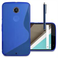 Motorola Nexus 6/ Nexus X: Accessoire Housse Etui Pochette Coque S silicone gel + Stylet - BLEU