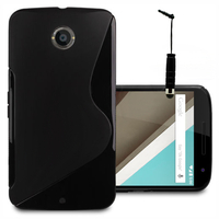 Motorola Nexus 6/ Nexus X: Accessoire Housse Etui Pochette Coque S silicone gel + mini Stylet - NOIR