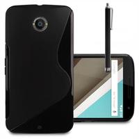 Motorola Nexus 6/ Nexus X: Accessoire Housse Etui Pochette Coque S silicone gel + Stylet - NOIR