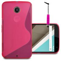 Motorola Nexus 6/ Nexus X: Accessoire Housse Etui Pochette Coque S silicone gel + mini Stylet - ROSE