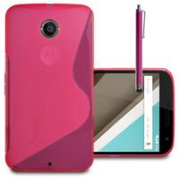 Motorola Nexus 6/ Nexus X: Accessoire Housse Etui Pochette Coque S silicone gel + Stylet - ROSE