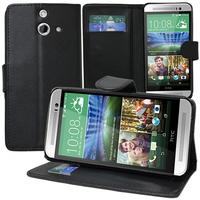 HTC One (E8)/ (E8) Ace/ (E8) dual sim/ (E8) CDMA: Accessoire Etui portefeuille Livre Housse Coque Pochette support vidéo cuir PU - NOIR