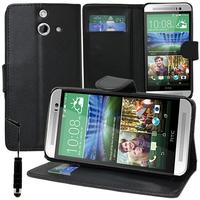 HTC One (E8)/ (E8) Ace/ (E8) dual sim/ (E8) CDMA: Accessoire Etui portefeuille Livre Housse Coque Pochette support vidéo cuir PU + mini Stylet - NOIR