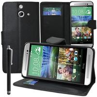 HTC One (E8)/ (E8) Ace/ (E8) dual sim/ (E8) CDMA: Accessoire Etui portefeuille Livre Housse Coque Pochette support vidéo cuir PU + Stylet - NOIR