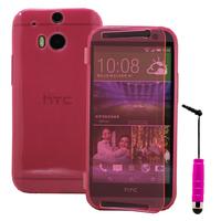 HTC One (M8)/ One M8s/ Dual Sim/ (M8) Eye/ M8 For Windows/ HTC Butterfly 2: Accessoire Coque Etui Housse Pochette silicone gel Portefeuille Livre rabat + mini Stylet - ROSE