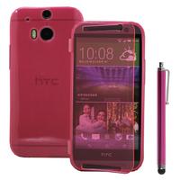 HTC One (M8)/ One M8s/ Dual Sim/ (M8) Eye/ M8 For Windows/ HTC Butterfly 2: Accessoire Coque Etui Housse Pochette silicone gel Portefeuille Livre rabat + Stylet - ROSE