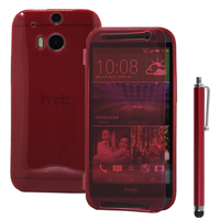 HTC One (M8)/ One M8s/ Dual Sim/ (M8) Eye/ M8 For Windows/ HTC Butterfly 2: Accessoire Coque Etui Housse Pochette silicone gel Portefeuille Livre rabat + Stylet - ROUGE