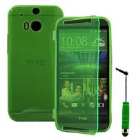 HTC One (M8)/ One M8s/ Dual Sim/ (M8) Eye/ M8 For Windows/ HTC Butterfly 2: Accessoire Coque Etui Housse Pochette silicone gel Portefeuille Livre rabat + mini Stylet - VERT