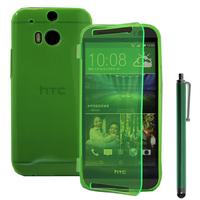 HTC One (M8)/ One M8s/ Dual Sim/ (M8) Eye/ M8 For Windows/ HTC Butterfly 2: Accessoire Coque Etui Housse Pochette silicone gel Portefeuille Livre rabat + Stylet - VERT