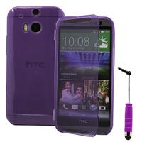 HTC One (M8)/ One M8s/ Dual Sim/ (M8) Eye/ M8 For Windows/ HTC Butterfly 2: Accessoire Coque Etui Housse Pochette silicone gel Portefeuille Livre rabat + mini Stylet - VIOLET