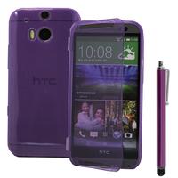 HTC One (M8)/ One M8s/ Dual Sim/ (M8) Eye/ M8 For Windows/ HTC Butterfly 2: Accessoire Coque Etui Housse Pochette silicone gel Portefeuille Livre rabat + Stylet - VIOLET