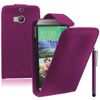 HTC One (M8)/ One M8s/ Dual Sim/ (M8) Eye/ M8 For Windows/ HTC Butterfly 2: Accessoire Etui Housse Coque Pochette simili cuir + Stylet - VIOLET