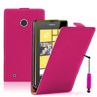 Nokia Lumia 530/ 530 Dual Sim: Accessoire Housse coque etui cuir fine slim + mini Stylet - ROSE